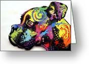 Animal Art Greeting Cards - Boxer Greeting Card by Dean Russo