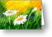 Watercolor Flowers Prints Greeting Cards - 3 Brilliant Daisies Greeting Card by Ann Troe