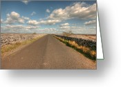 Kinvarra Greeting Cards - Burren Road Greeting Card by John Quinn