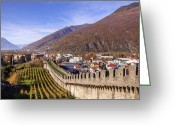 Alpine Panorama Greeting Cards - Castelgrande - Bellinzona Greeting Card by Joana Kruse