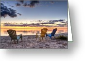 Lake Michigan Greeting Cards - 3 Chairs Sunrise Greeting Card by Scott Norris