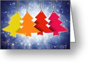 Green Tag Greeting Cards - Christmas Card  Greeting Card by Setsiri Silapasuwanchai