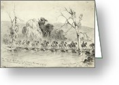 General Jackson Greeting Cards - Civil War: Pontoon Bridge Greeting Card by Granger