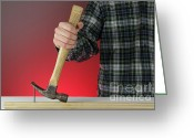 Featured Greeting Cards - Claw Hammer And Nail Greeting Card by Photo Researchers
