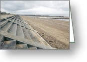 Sea Wall Greeting Cards - Coastal Defences, Norfolk Greeting Card by Colin Cuthbert