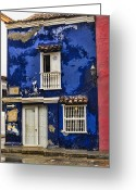 Faded Greeting Cards - Colonial buildings in old Cartagena Colombia Greeting Card by David Smith