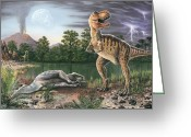 Extinction Greeting Cards - Cretaceous-tertiary Extinction Event Greeting Card by Richard Bizley