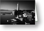 Northern Ireland Greeting Cards - Donaghadee Harbour And Lighthouse County Down Northern Ireland  Greeting Card by Joe Fox