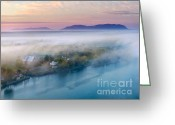 Birds Eye Greeting Cards - Early Autumn Morning Fog on The Richelieu River Valley Quebec Ca Greeting Card by Laurent Lucuix