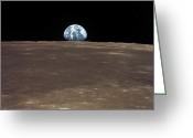 Rising From Earth Greeting Cards - Earth Rising Above The Moons Horizon Greeting Card by Stocktrek Images