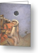 Japan Painting Greeting Cards - Eclipse Greeting Card by Nicolay  Reznichenko