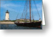 Martha Greeting Cards - Edgartown Light Greeting Card by Michael Petrizzo