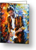Musicians Glass Greeting Cards - Eric Clapton Greeting Card by Leonid Afremov