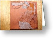 Uganda Pottery Ceramics Greeting Cards - Erica - tile Greeting Card by Gloria Ssali