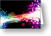 Fluorescence Greeting Cards - Explosion Of Lights Greeting Card by Setsiri Silapasuwanchai