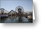 Paradise Pier Greeting Cards - Ferris Wheel and Roller Coaster - Paradise Pier - Disney California Adventure - Anaheim California - Greeting Card by Wingsdomain Art and Photography