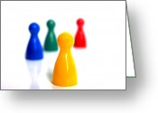Blurry Greeting Cards - Game pieces in various colours Greeting Card by Bernard Jaubert