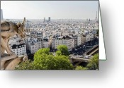 Gargoyle Greeting Cards - Gargoyle guarding the Notre Dame Basilica in Paris Greeting Card by Pierre Leclerc