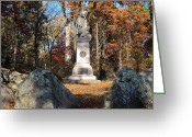Pennsylvania Pyrography Greeting Cards - Gettysburg Three Days Battle   Greeting Card by Valia Bradshaw