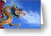 Happy New Year Greeting Cards - Giant golden Chinese dragon Greeting Card by Anek Suwannaphoom