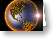 America The Continent Greeting Cards - Global Warming, Conceptual Image Greeting Card by Roger Harris