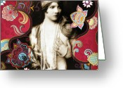 Vintage Mixed Media Greeting Cards - Goddess Greeting Card by Chris Andruskiewicz