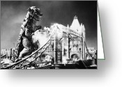 Ruin Greeting Cards - Godzilla Greeting Card by Granger