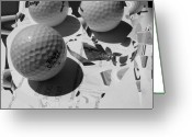 Golf Digital Art Greeting Cards - 3 Golf Balls Enter Art Competition Greeting Card by Evguenia Men
