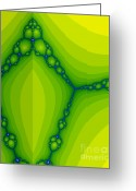 Screen Doors Greeting Cards - Green fractal  Greeting Card by Odon Czintos