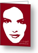 White Drawings Greeting Cards - Illustration of a woman in fashion Greeting Card by Frank Tschakert