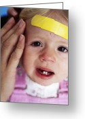 Tearful Greeting Cards - Injured Baby Girl Greeting Card by Ian Boddy