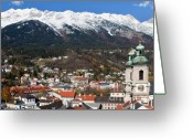 Ski Jump Greeting Cards - Innsbruck Greeting Card by Andre Goncalves