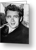 1950s Fashion Photo Greeting Cards - James Dean (1931-1955) Greeting Card by Granger