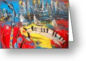 Black And White Photos Painting Greeting Cards - Jazz City Greeting Card by Mark Kazav
