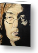 Image John Lennon Greeting Cards - John Lennon Greeting Card by Michael Kulick