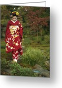 Kansai Triangle Greeting Cards - Kimono-clad Geisha In A Park Greeting Card by Justin Guariglia