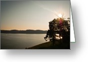 Sun Flare Greeting Cards - Lake Cumberland Sunset Greeting Card by Amber Flowers