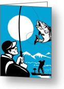 Bass Digital Art Greeting Cards - Largemouth Bass Fish and Fly Fisherman Greeting Card by Aloysius Patrimonio