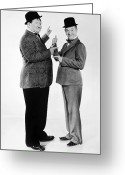 Men Greeting Cards - Laurel And Hardy Greeting Card by Granger