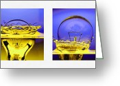 Photograph Digital Art Greeting Cards - Light Bulb Drop In To The Water Greeting Card by Setsiri Silapasuwanchai
