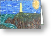 Sea Shell Art Greeting Cards - Lighthouse Greeting Card by Patrick J Murphy