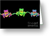 Amphibians Greeting Cards - 3 Little Frogs Greeting Card by Nick Gustafson