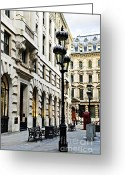 Benches Photo Greeting Cards - London street Greeting Card by Elena Elisseeva