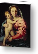 Virgin Maria Greeting Cards - Madonna and Child Greeting Card by Il Sassoferrato