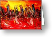 Sunset Framed Prints Painting Greeting Cards - Manhattan Greeting Card by Mark Kazav