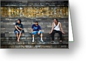 Borobudur Greeting Cards - 3 Men Watching Greeting Card by Charuhas Images