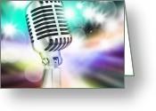 Contest Greeting Cards - Microphone On Stage Greeting Card by Setsiri Silapasuwanchai
