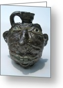 Jug Ceramics Greeting Cards - Miniature Face Jug Greeting Card by Stephen Hawks
