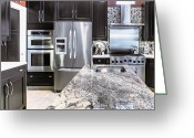 Florida House Greeting Cards - Modern Kitchen Interior Greeting Card by Skip Nall