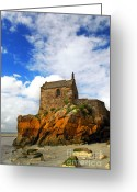 Landmarks Greeting Cards - Mont Saint Michel Greeting Card by Elena Elisseeva